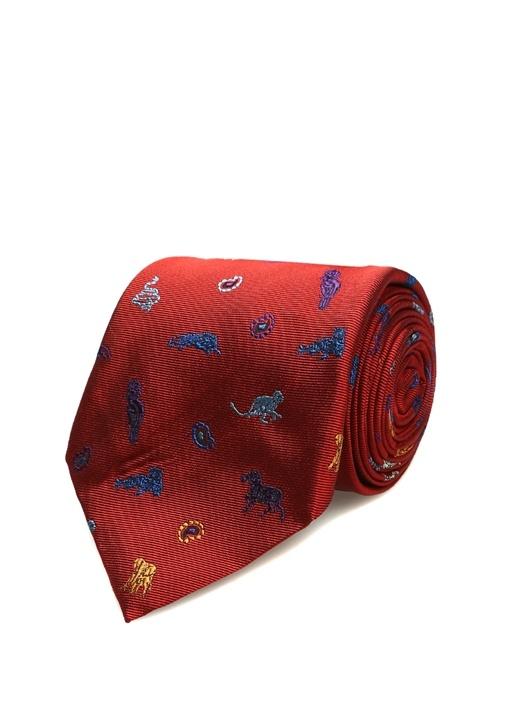 Kırmızı Mikro Hayvan Desenli İpek Kravat