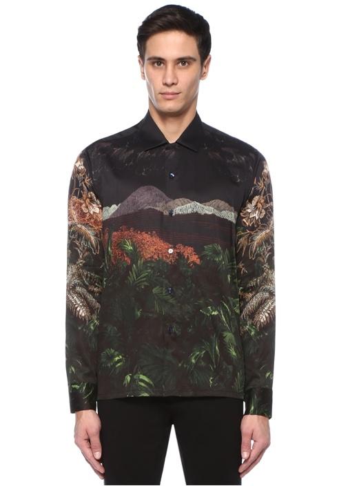 Siyah İngiliz Yaka Dağ Baskılı Gömlek
