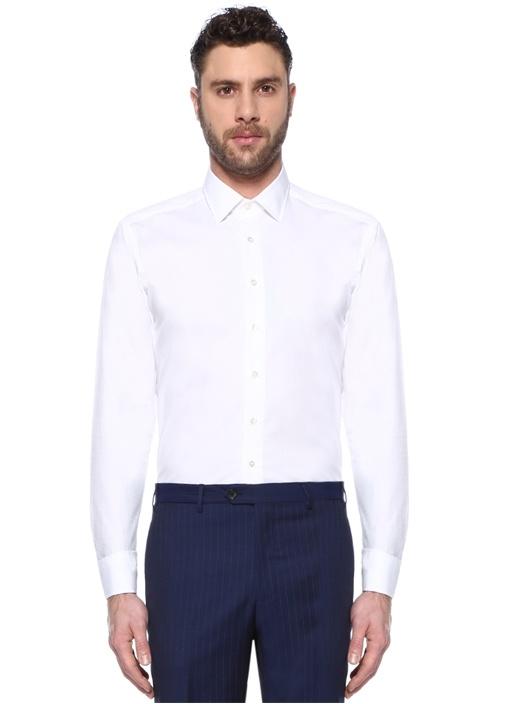 Beyaz Mikro Desenli İngiliz Yaka Gömlek