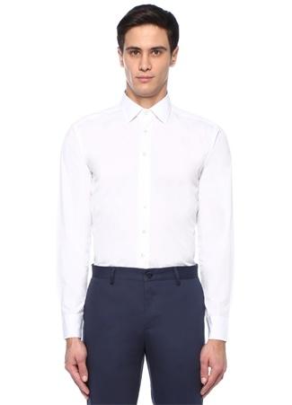 Beyaz İngiliz Yaka Mikro Desenli Gömlek