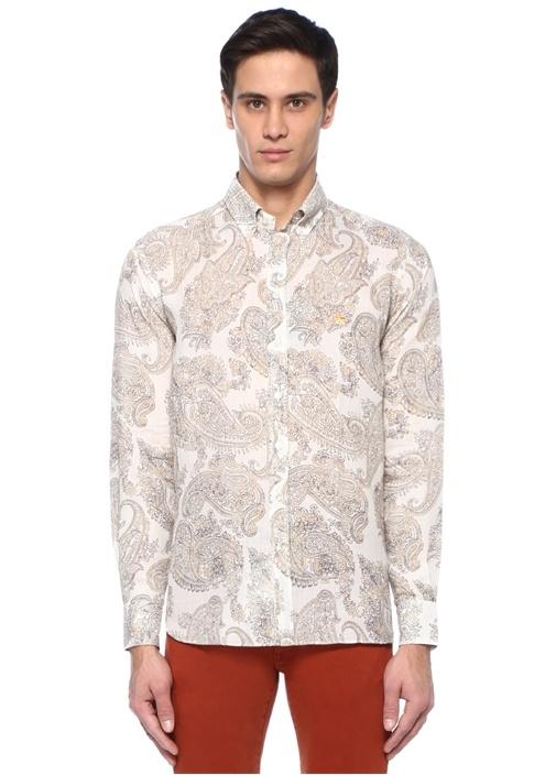 Bej Düğmeli Yaka Etnik Desenli Oxford Gömlek