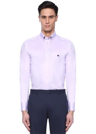 Etro Erkek Mor Logo Nakışlı Düğmeli Yaka Gömlek 44 I (IALY) Ürün Resmi