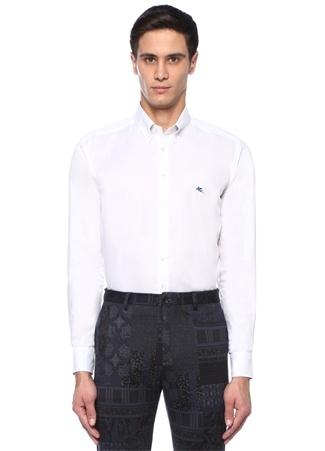 Beyaz Düğmeli Yaka Oxford Gömlek