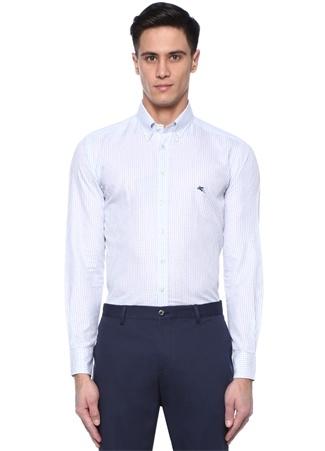 Mavi Beyaz Düğmeli Yaka Kareli Gömlek