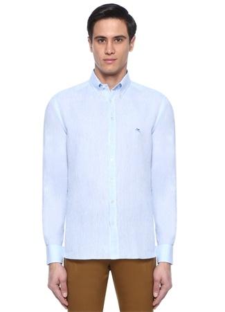 Mavi Düğmeli Yaka Logolu Keten Gömlek