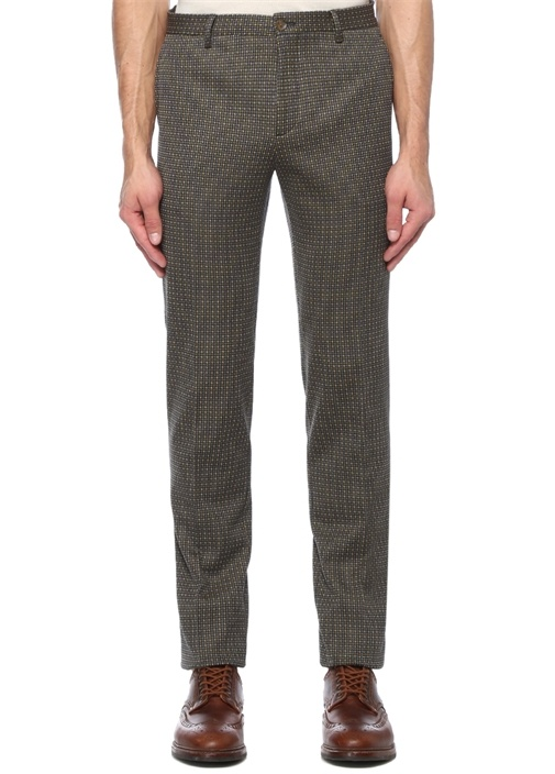 Kahverengi Normal Bel Mikro Desenli Pantolon