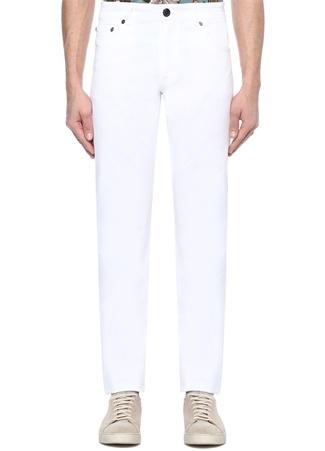 Beyaz Normal Bel Boru Paça Pantolon