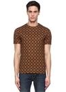 Kahverengi Bisiklet Yaka Etnik Desenli T-shirt