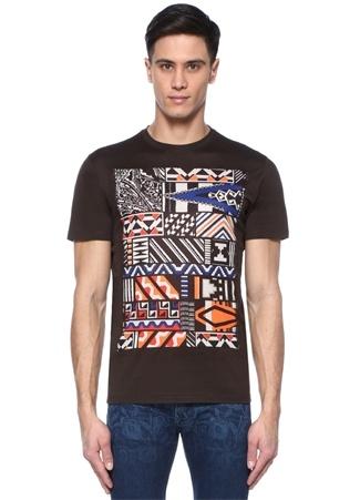 Erkek Kahverengi Bisiklet Yaka Baskılı Basic T-shirt XXXL EU