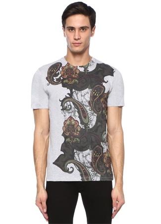 Gri Melanj Bisiklet Yaka Etnik Desen Basic T-shirt