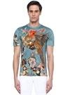 Mavi Bisiklet Yaka Çiçek Baskılı Basic T-shirt