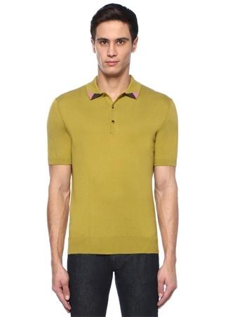 Yeşil Polo Yaka Colorblocked Detaylı T-shirt