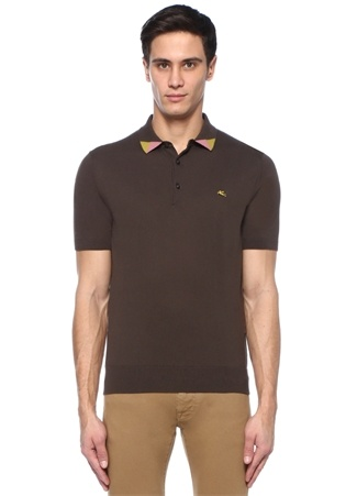 Kahverengi Polo Yaka Colorblocked Detaylı T-shirt