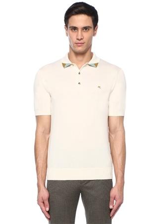 Ekru Polo Yaka Colorblocked Detaylı T-shirt