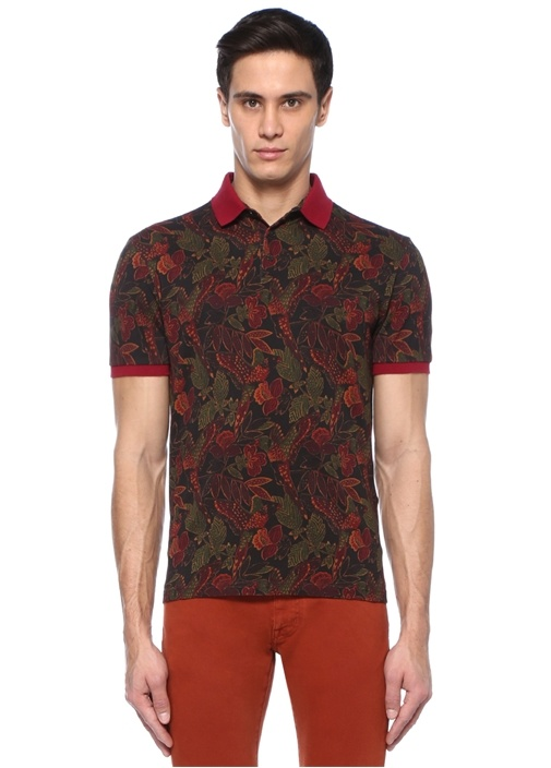 Bordo Siyah Polo Yaka Etnik Desenli T-shirt