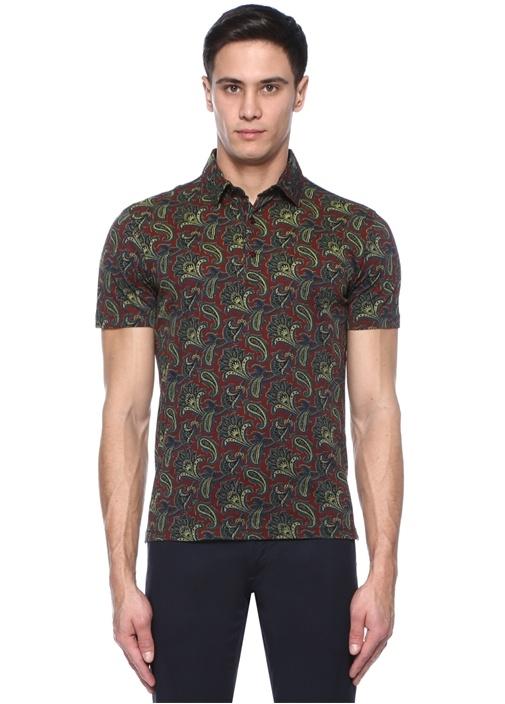 Kahverengi Etnik Desenli Polo Yaka T-shirt