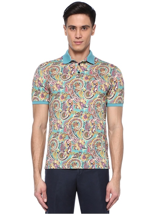 Mavi Polo Yaka Etnik Desenli T-shirt