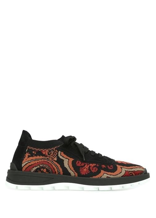 Siyah Kırmızı Desenli Çorap Formlu Erkek Sneaker