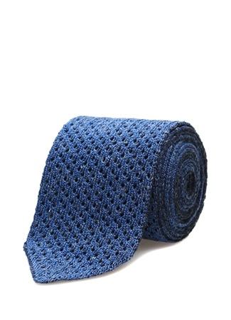 Lacivert Mavi Dokulu Keten Kravat