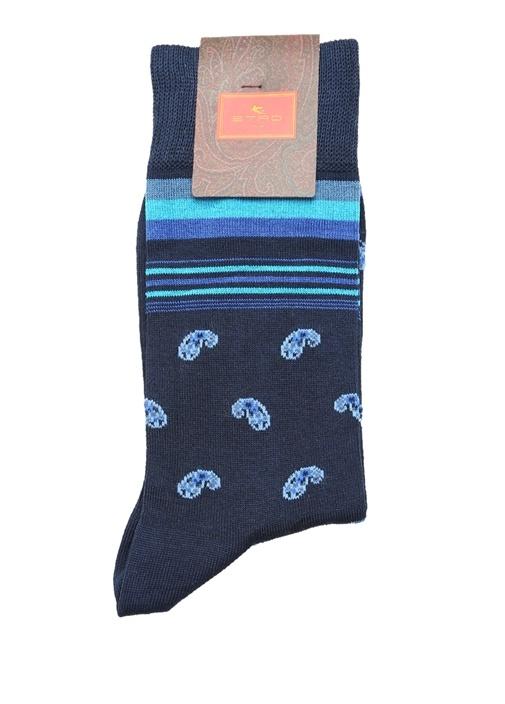 Lacivert Çizgili Şal Desen Jakarlı Erkek Çorap