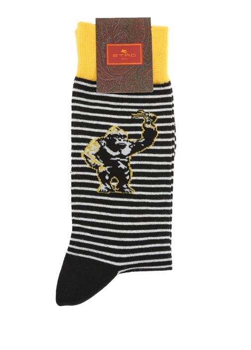 Siyah Ananas Jakarlı Çizgili Erkek Çorap