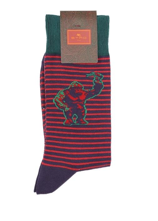 Yeşil Ananas Jakarlı Çizgili Erkek Çorap