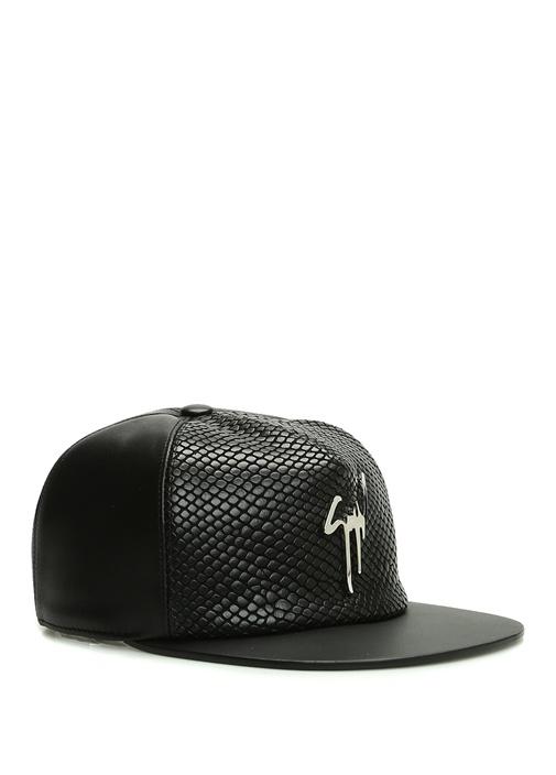 Siyah Dokulu Erkek Deri Şapka