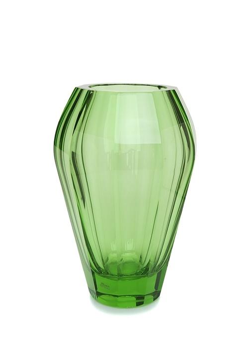 Yeşil Çizgi Dokulu Cam Vazo