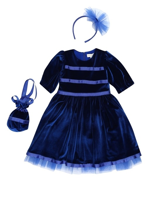 Royal Mavi Kadife Çocuk Elbise Ve Aksesuarı