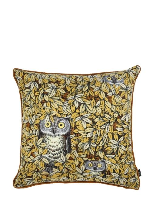 Sarı Baykuş Baskılı Desenli Dekoratif Yastık