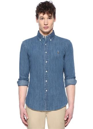 Polo Ralph Lauren Erkek Slim Fit Mavi Düğmeli Yaka Logolu DenimGömlek EU male