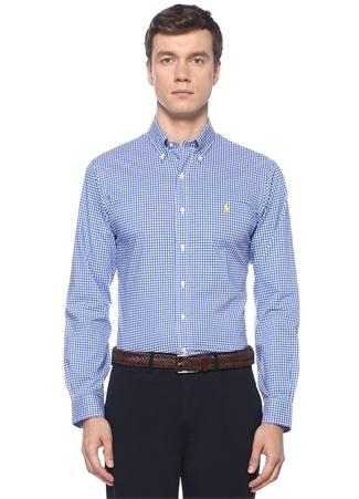 Polo Ralph Lauren Erkek Slim Fit Lacivert Beyaz Kareli Düğmeli Yaka Gömlek Mavi XL EU male