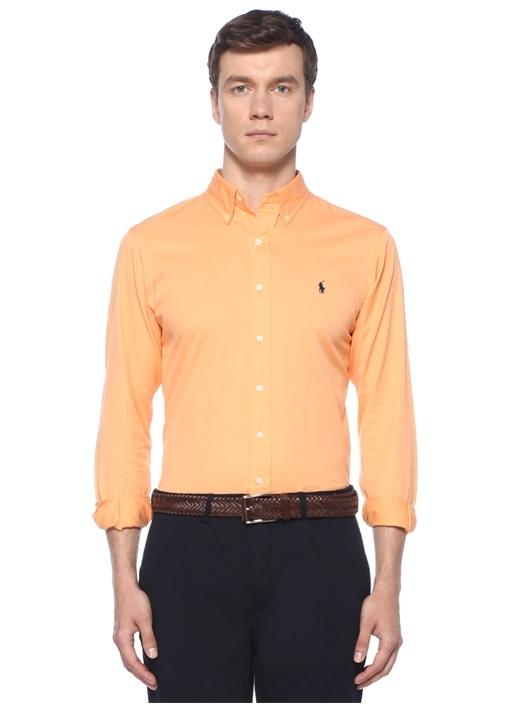 Turuncu Düğmeli Yaka Logo Nakışlı Gömlek