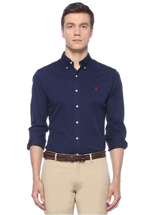 Slim Fit Lacivert Düğmeli Yaka Logo Nakışlı Gömlek