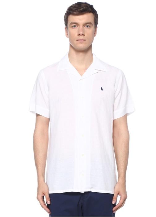 Beyaz Apaç Yaka Keten Gömlek