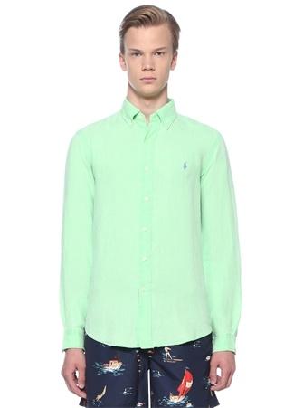 74b8a60e5cf9d Polo Ralph Lauren Erkek Slim Fit Yeşil Düğmeli Yaka Keten Gömlek S EU