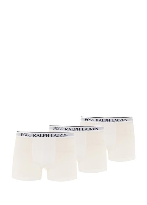 3lü Beyaz Logolu Klasik Streç Boxer Seti