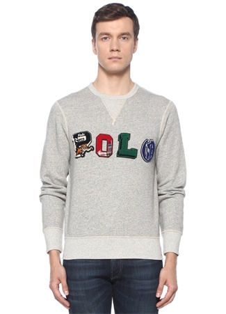 Gri Melanj Logo Patch Detaylı Sweatshirt