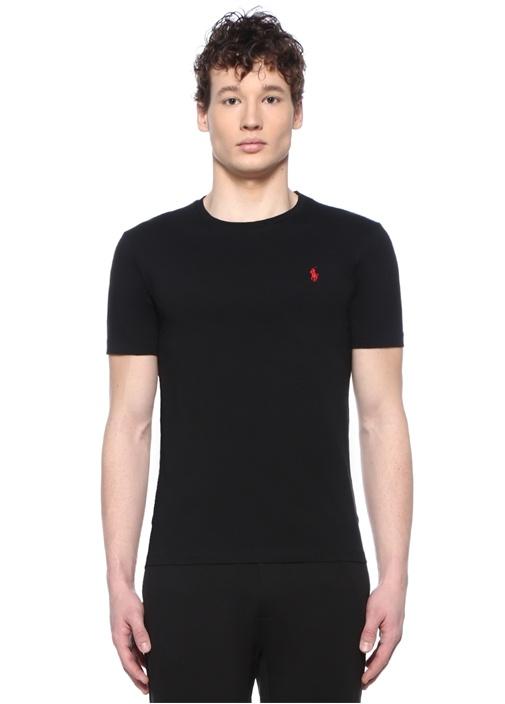 Custom Slim Fit Siyah Logo Nakışlı T-shirt
