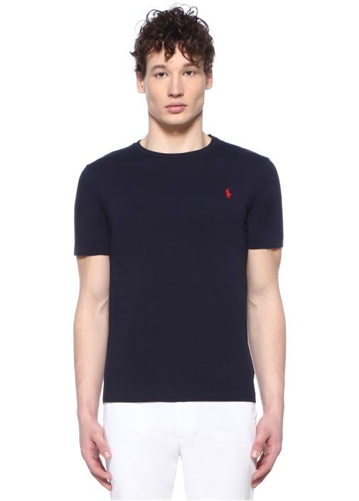 Custom Slim Fit Lacivert Bisiklet Yaka T-shirt