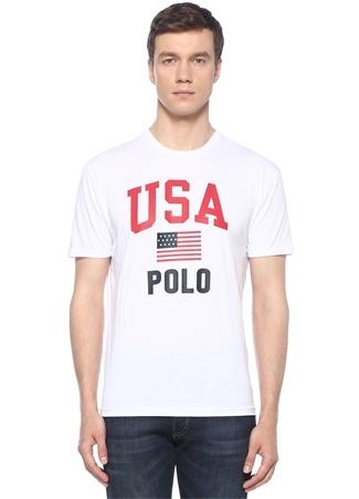 Classic Fit Beyaz Logo Baskılı T-shirt