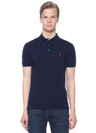 Polo Ralph Lauren Erkek Slim Fit Yaka Stretch T-shirt Lacivert EU male
