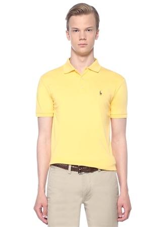 Erkek Slim Fit Sarı Yaka Logolu T-shirt M EU