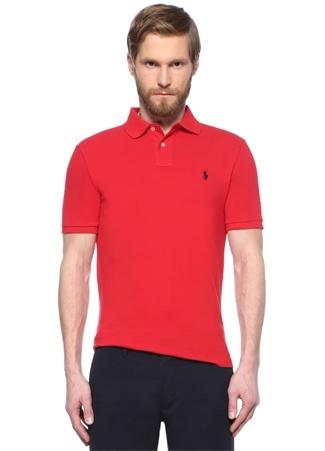 Erkek Custom Slim Fit Kırmızı Logo Nakışlı T-shirt M EU