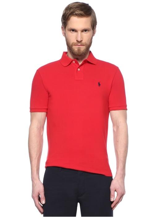 Custom Slim Fit Kırmızı Nakışlı Polo Yaka T-shirt