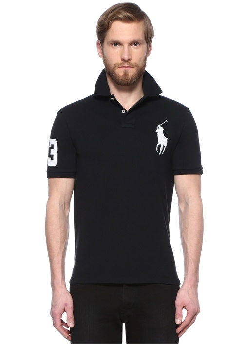 Custom Slim Fit Siyah Dokulu Polo Yaka T-shirt