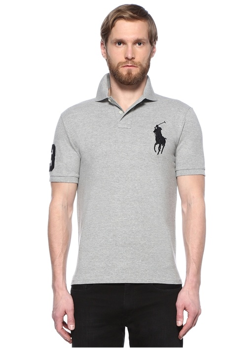 Custom Slim Fit Gri Logo Nakışlı Polo Yaka T-shirt
