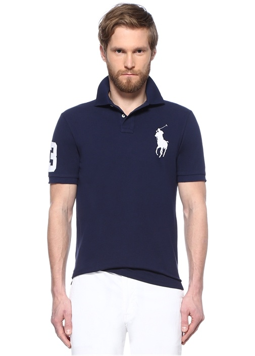 Custom Slim Fit Lacivert Polo Yaka Nakışlı T-shirt