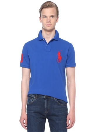 Polo Ralph Lauren Erkek Custom Slim Fit Lacivert Yaka Logolu T-shirt Mavi EU male
