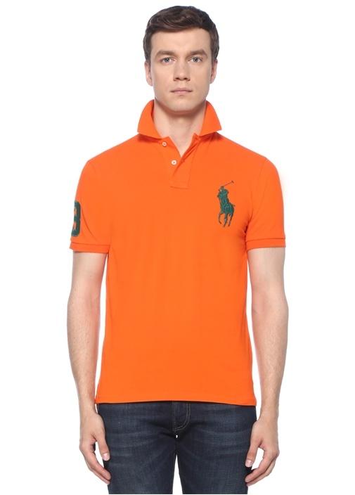 Custom Slim Fit Turuncu Polo Yaka T-shirt
